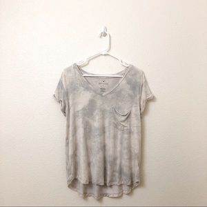American Eagle Grey and White Tie-dye T-Shirt M